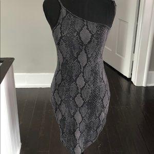 NWT One shoulder snake skin dress